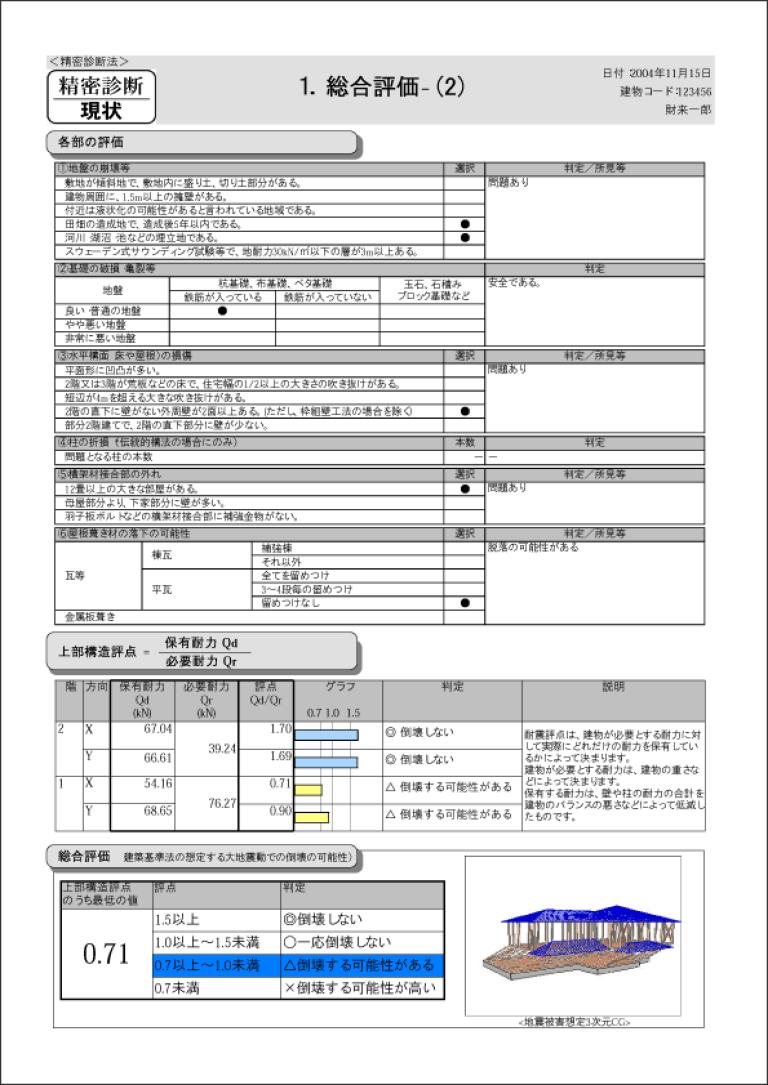 耐震診断鑑定書サンプル